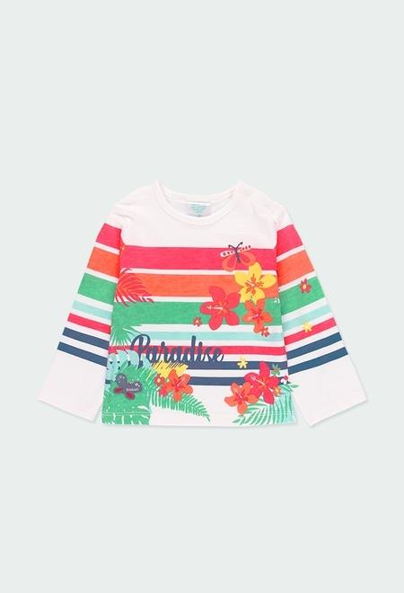 Camiseta malha floral e listras do b?b?_1