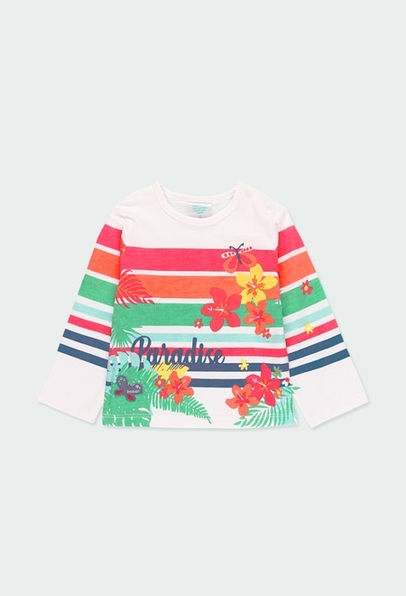Knit t-Shirt flowers and stripes for baby_1
