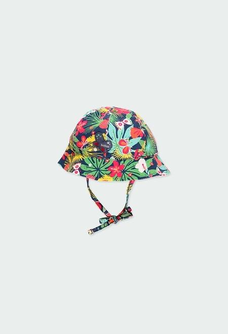 Bonnet tricot papillons et fleurs pour bébé_1