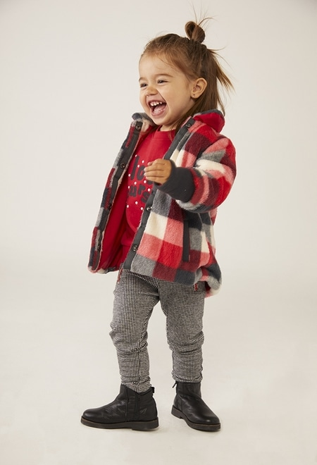 Manteau simili fourrure a carreaux pour bébé fille_1