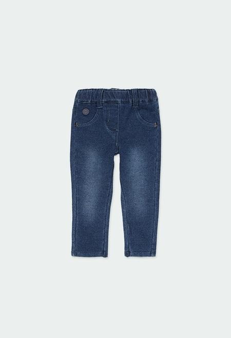 Fleece denim trousers for baby girl_1