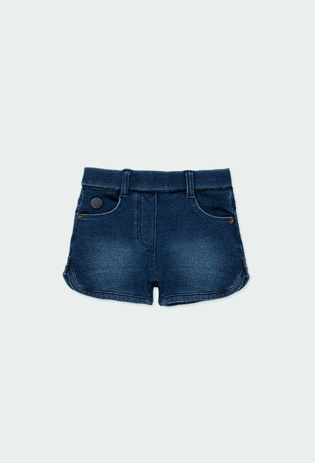 Fleece denim shorts for baby girl_1
