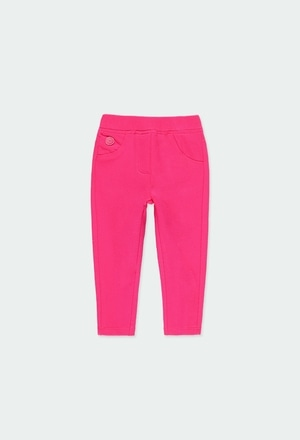 Stretch fleece trousers for baby girl_1