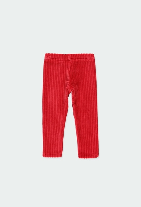 Stretch corduroy leggings for baby girl_1