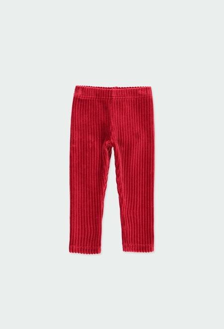 Stretch corduroy leggings for baby girl_1