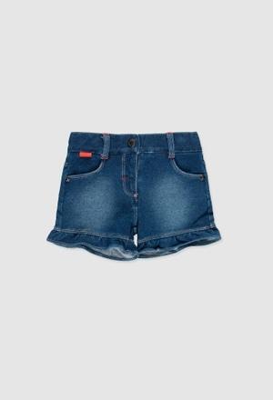 Fleece denim shorts for baby girl_1