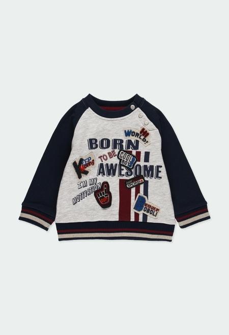 Sweat-Shirt plüsch zweifarbig für baby junge_1