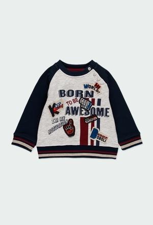 Fleece sweatshirt bicolour for baby boy_1