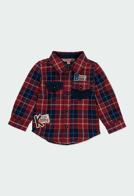 Camisa manga comprida quadros do bébé_1