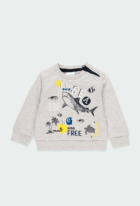 "Fleece sweatshirt ""sharks"" for baby boy_1"