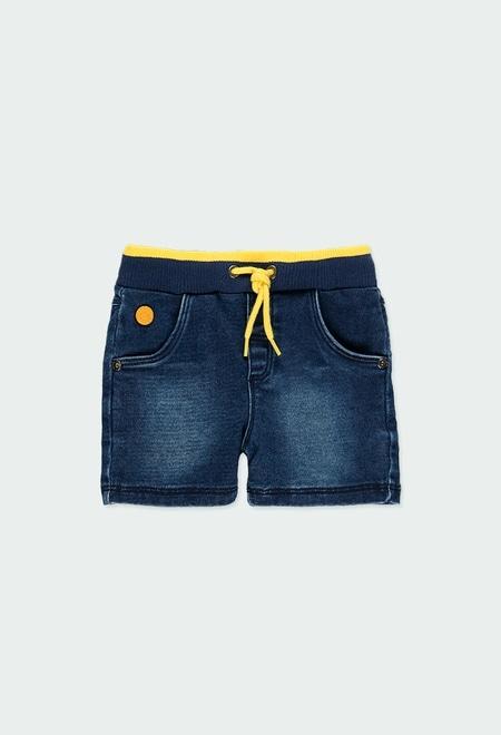 Knit denim bermuda shorts for baby boy_1