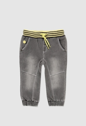 Stretch denim trousers for baby boy_1