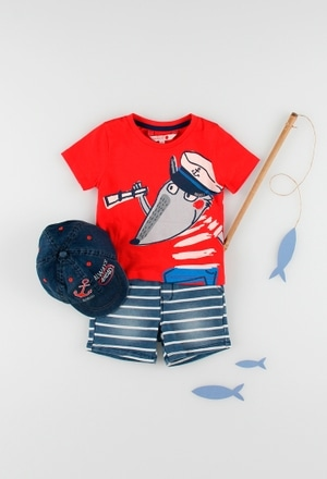 Fleece bermuda shorts denim for baby boy_1