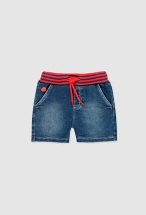Knit denim bermuda shorts for baby boy_1