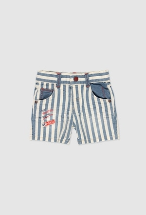 Stretch denim bermuda shorts for baby boy_1