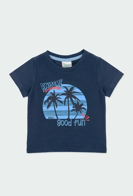 """Knit t-Shirt """"palm trees"""" for baby boy_1"""