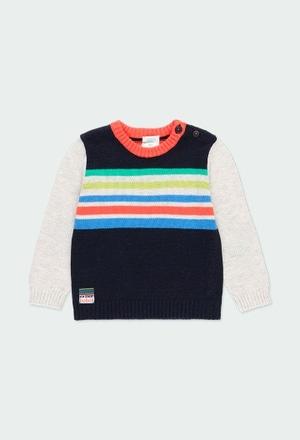 Pullover tricot às riscas para o bebé menino_1