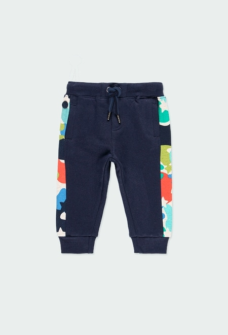 Fleece trousers with stripes for baby boy_1