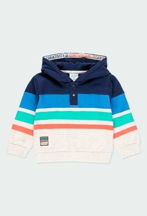 Fleece sweatshirt with stripes for baby boy_1