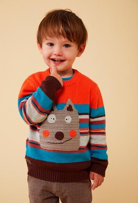 Strick pullover jacquard für baby junge_1