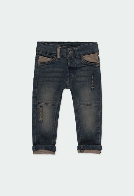 Pantalón denim elástico de bebé niño_1