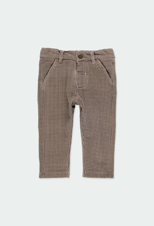 Fleece trousers check for baby boy_1
