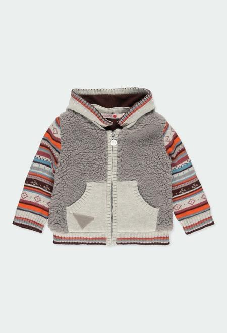 Casaco tricot combinado do bébé_1