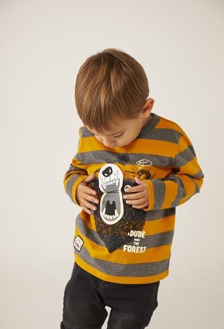 Camiseta malha às riscas para o bebé menino_1
