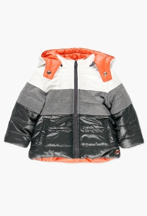 Reversible technical fabric parka for baby boy_1
