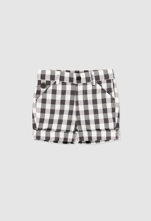 Poplin bermuda shorts check for baby boy_1