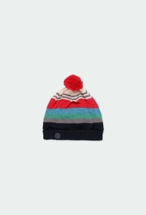 Gorro tricotosa con pompón de bebé niño_1