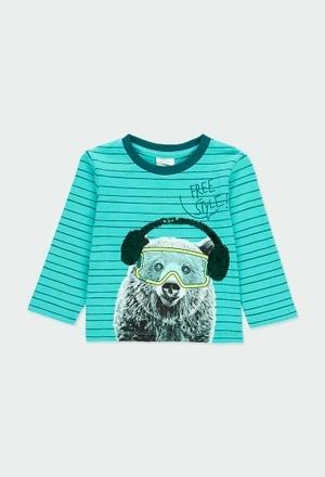 """Camiseta malha às riscas """"urso"""" do bébé_1"""