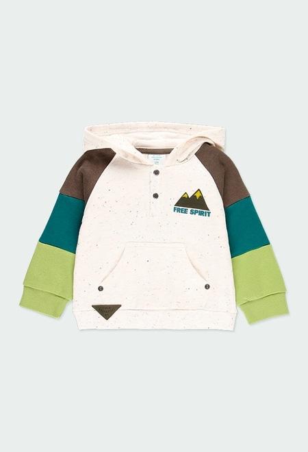 Fleece with hood sweatshirt for baby boy_1