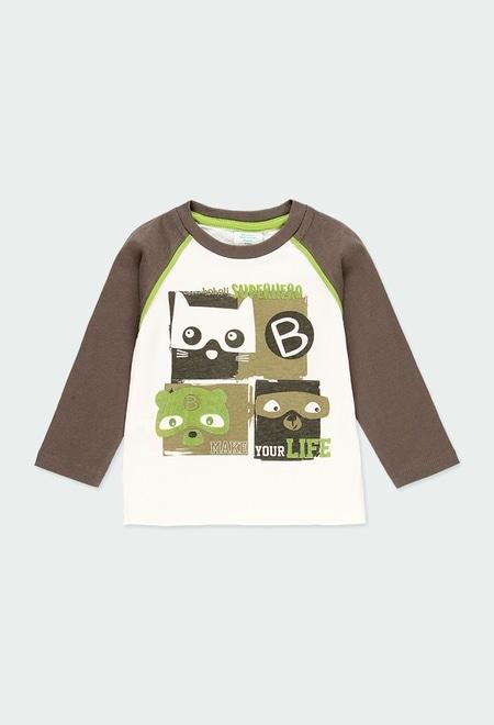 T-Shirt gestrickt zweifarbig für baby junge_1