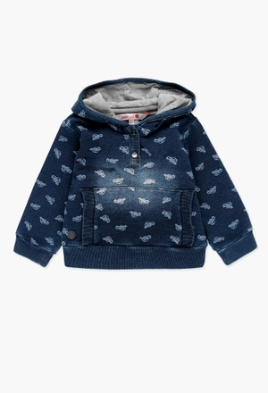 Fleece sweatshirt denim for baby boy_1