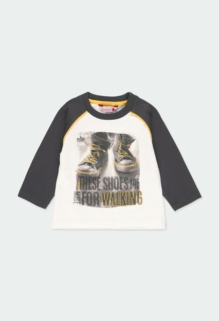 "Camiseta malha ""sapatos"" para o bebé menino_1"