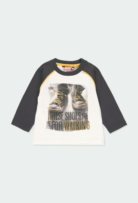 "Knit t-Shirt ""shoes"" for baby boy_1"