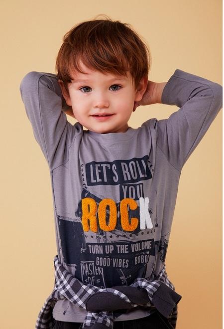 "Camiseta malha ""rock"" para o bebé menino_1"