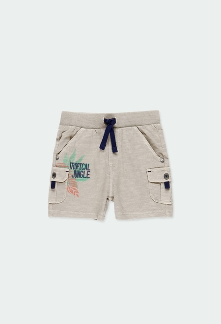 Knit bermuda shorts flame for baby boy_1