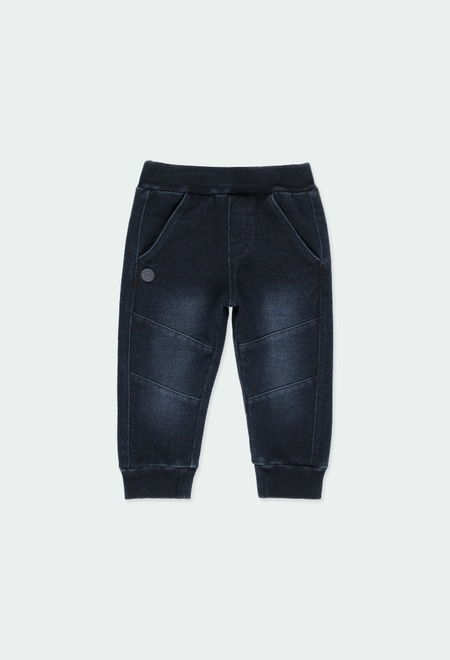 Fleece denim trousers for baby boy_1