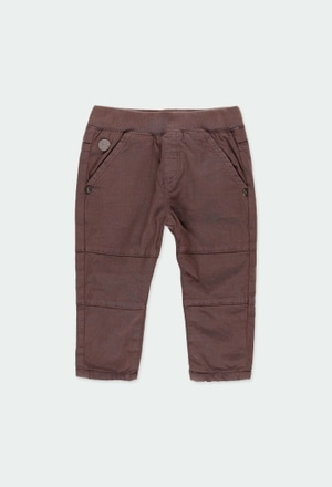Stretch gabardine trousers for baby boy_1