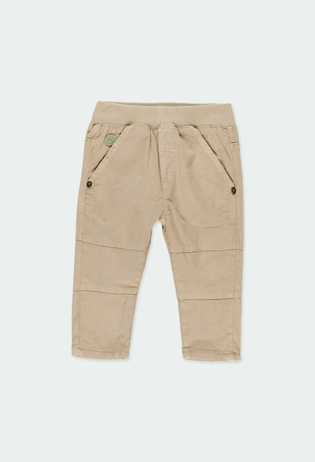 Stretch gabardine trousers for baby boy_1