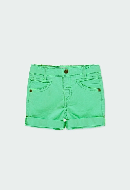 Stretch gabardine bermuda shorts for baby boy_1