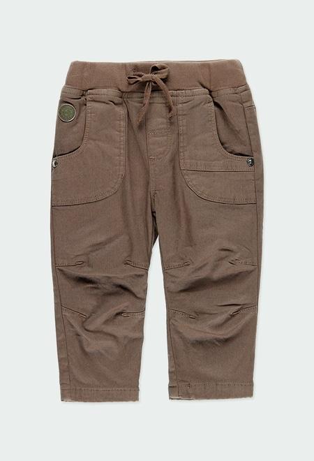 Pantalon en toile gabardine doublé pour bébé garçon_1