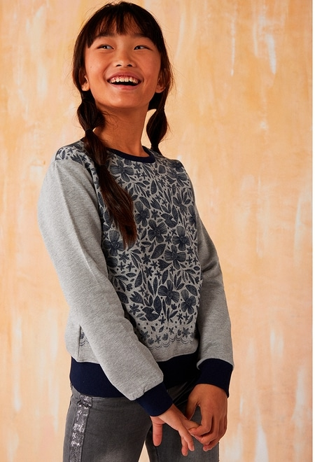 Fleece sweatshirt floral for girl_1