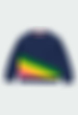 Fleece sweatshirt with stripes for girl
