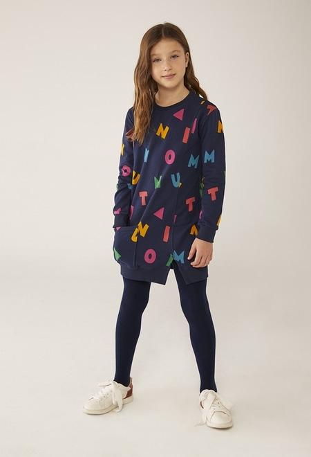 """Fleece dress """"letters"""" for girl_1"""