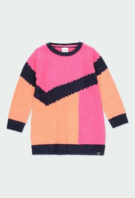 Vestido tricotosa tricolor de niña_1