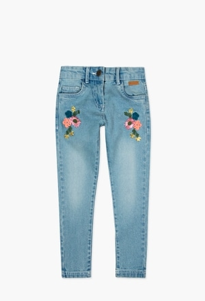 Denim stretch trousers for girl_1