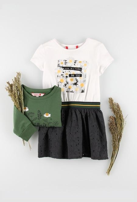 Vestido punto combinado de niña_1